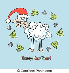 sheep card for new year