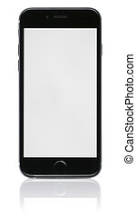 New Phone with blank screen on white background