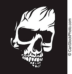 White Skull - Black and white human skull with a lower jaw...