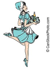 Vector illustration of waitress in blue dotted dress in retro style running with beer order