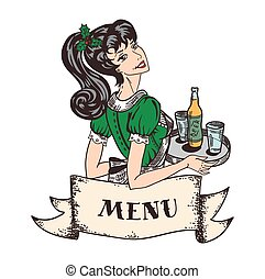 Christmas holiday theme retro waitress in green dress with holly tree leaves and berries in hair and with beer order on tray in hands, retro banner from parchment with copy space.