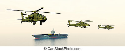 Helicopters and Aircraft Carrier - Computer generated 3D...