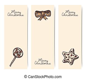 Christmas vector vertical banners, vintage drawings style on parchment, craft brown paper