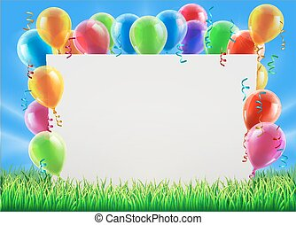 Party Balloon Sign - An illustration of a sign surrounded by...