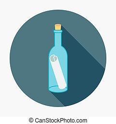 Pirate or sea icon, bottle mail. Flat design style modern...