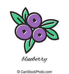 Vector illustration. Doodle blueberry. Hand-drawn object isolated on white background. Easy paste to any background