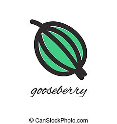 Vector illustration. Doodle gooseberry. Hand-drawn object...