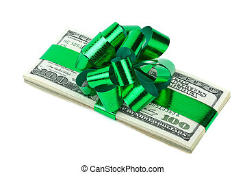 Money bonus - Pack of $100 banknotes tied with ribbon and...