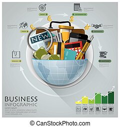 Global Business And Financial Infographic With Round Circle Diagram
