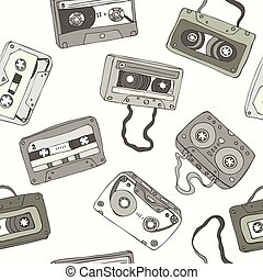 Seamless pattern of retro cassette tapes - Seamless pattern...