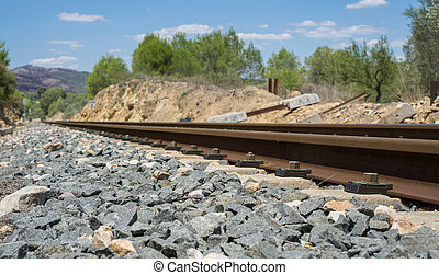 Side view of railway to infinite (railway in the right side...