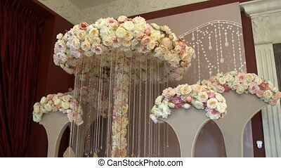 View of stands decorated pastel roses - View of wedding...