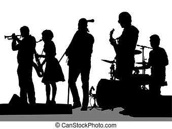 Group music - Group and singer of rock band on white...