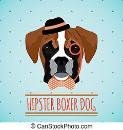 Hipster dog portrait - Hipster boxer dog with hat monocle...