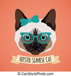 Hipster cat portrait - Hipster siamese cat with glasses and...