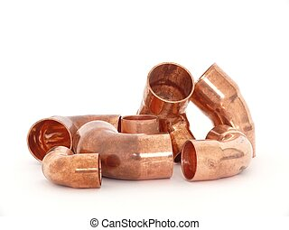 Plumbing fittings - Copper brass plumbing fittings isolated...