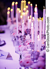 Wedding reception - Table set for wedding reception with...
