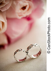 Roses and rings - Wedding concept with roses and rings,...