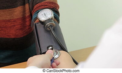 Doctor measures the pressure - use of medical blood pressure...