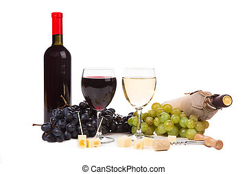 Composition of wine cheese and grapes. Isolated on a white...