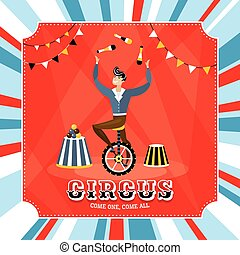 Vintage vector card with a juggler