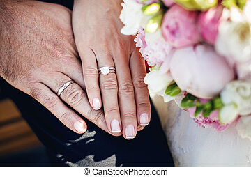 Hands with wedding rings - Holding hands with wedding rings...