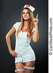 joven, y, hermoso, bailarín, en, Enfermera, disfraz,...