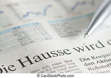Hausse - German newspaper close-up with the headline about...