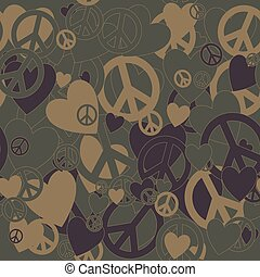 Military Camouflage Love and Pacifism sign - Surreal...