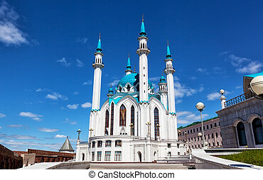 Qol Sharif mosque against the blue sky with white clouds,...