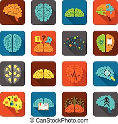 Brain icons flat set - Brain thinking strategy brainstorming...