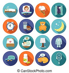 Sleep time icons flat set with window milk and cookies...