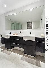 Modern bathroom - Modern twin bathroom in stylish Australian...