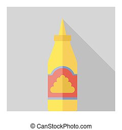 Vector flat bottle with mustard