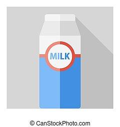 Vector flat milk bottle on gray background. Eps10