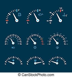 Speedometer interface icons - Speedometer gauge timer gas...