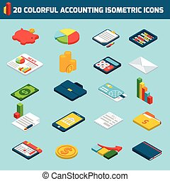 Accounting icons set isometric