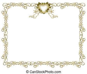 trouwfeest, uitnodiging, goud, grens, engelen