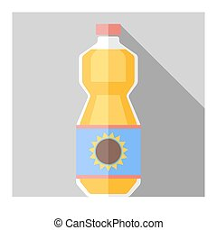Vector flat sunflower oil bottle - Vector coor flat...