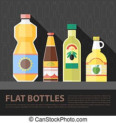 Vector color flat kitchen bottle set . Eps10
