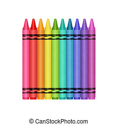 Color Crayons - Crayon collection in a row. Colourful...
