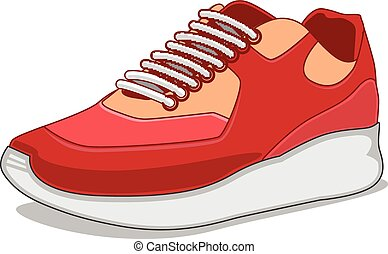 Sneakers isolated on white. - Bright cartoon sports element....