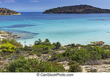 Lagonisi Beach, Chalkidiki, Sithonia, Central Macedonia,...