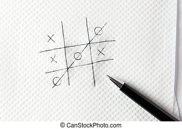Noughts and crosses - Hand drawn tic tac toe game on napkin...