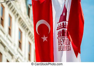 Turkish flag in Beyoglu district, Istanbul.