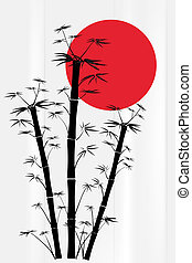 Bamboo with red sun
