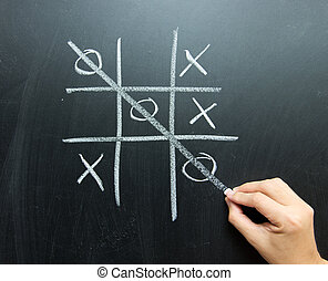 Noughts and crosses - Hand drawn tic tac toe game on...