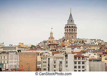 The Galata Tower in Beyoglu district, Istanbul.