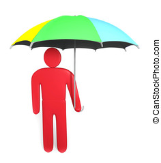 Abstract man stands with multicolored umbrella