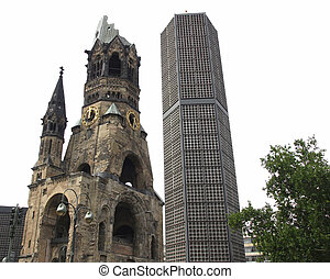 Bombed church, Berlin - Ruins of Kaiser Wilhelm Memorial...